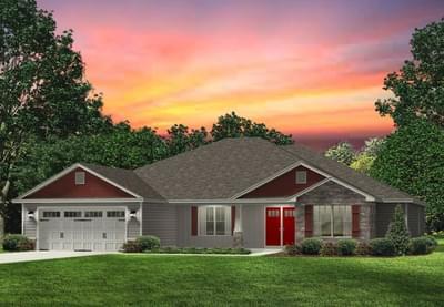 Red Door Homes -  The Brunswick Craftsman Elevation