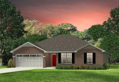 Red Door Homes -  The Hanover Brick Elevation